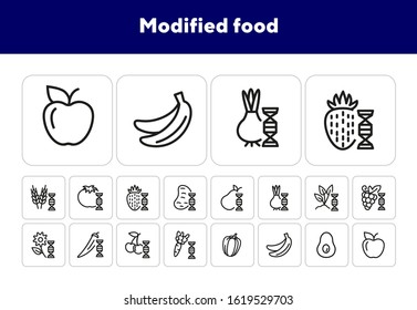 Modified food line icon set. Genetically modified fruit, vegetables, wheat. Food concept. Can be used for topics like food industry, agriculture, genetics