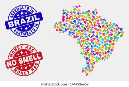 Module Brazil map and blue Assembled seal stamp, and Money Has No Smell scratched seal stamp. Bright vector Brazil map mosaic of puzzle elements. Red rounded Money Has No Smell seal.