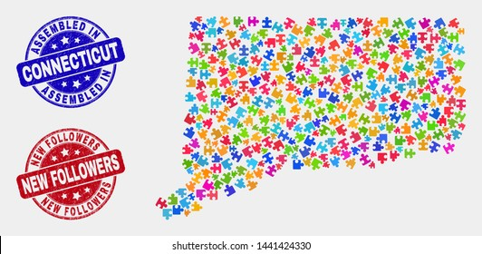 Module Connecticut State map and blue Assembled seal stamp, and New Followers textured seal stamp. Colored vector Connecticut State map mosaic of puzzle components. Red round New Followers imprint.