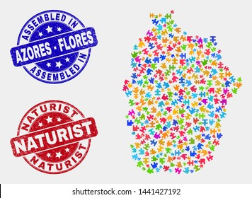 Module Flores Island of Azores map and blue Assembled seal stamp, and Naturist distress seal stamp. Colored vector Flores Island of Azores map mosaic of plug-in connectors. Red rounded Naturist stamp.