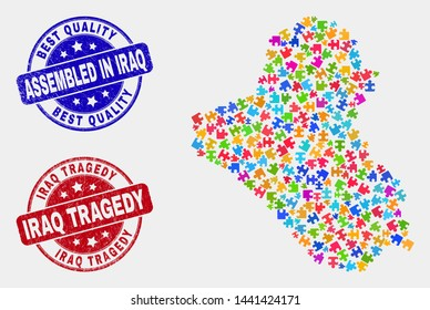 Module Iraq map and blue Assembled seal stamp, and Iraq Tragedy textured seal stamp. Colored vector Iraq map mosaic of bundle items. Red round Iraq Tragedy seal.
