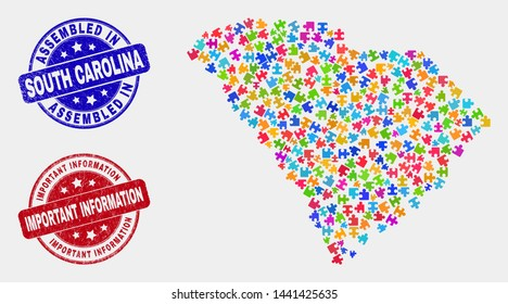 Module South Carolina State map and blue Assembled seal stamp, and Important Information scratched seal stamp. Colored vector South Carolina State map mosaic of bundle.