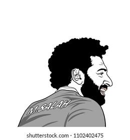 Mohamed Salah, Black and White Portrait Illustration, Vector Design, Editorial. May 31, 2018.