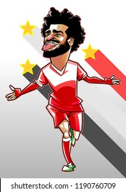 Mohamed salah caricature vector with layers
