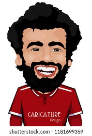 Mohamed Salah Ghaly Caricature. He is an Egyptian professional footballer who plays as a forward for English club Liverpool.