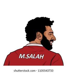 Mohamed Salah, Mo Salah Portrait Illustration, Flat Vector Design, Editorial. June 5, 2018.