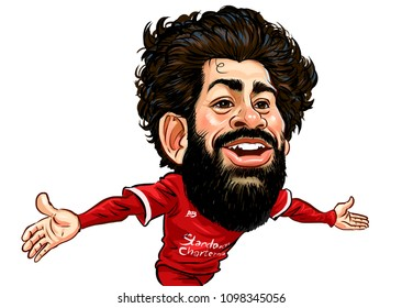 Mohammed Salah Gabriel, professional Egyptian national footballer,Caricature vector design on white background.May,2018