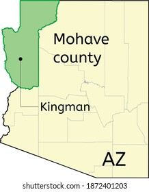 Mohave county and city of Kingman location on Arizona map