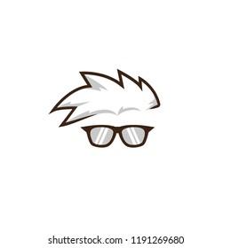 Mohawk geek nerd glasses face logo icon illustration