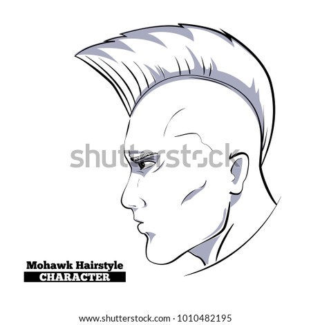 Mohawk Hairstyle Characterhand Drawn Style Sketch Profile Stock