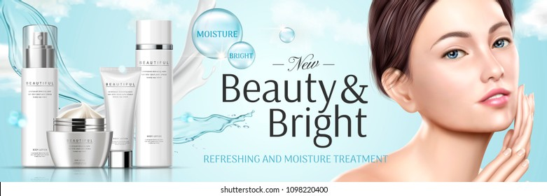 Moisture cosmetic set with mix texture and beautiful model in 3d illustration