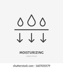 Moisture line icon, vector pictogram of moisturizing cream. Skincare illustration, sign for cosmetics packaging.