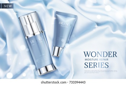 Moisture repair series ads, light blue cosmetic skincare products with silky fabric and glittering elements in 3d illustration, top view
