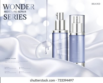 Moisture repair series ads, light purple cosmetic skincare product with silky fabric and glittering bokeh background in 3d illustration