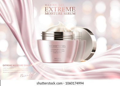 Moisture serum ads, cosmetic cream jar with silver pink satin on glowing pink background in 3d illustration