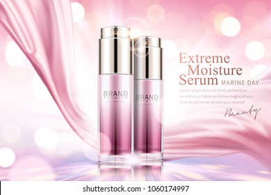 Moisture serum ads, cosmetic spray bottle with pink satin on glowing pink background in 3d illustration
