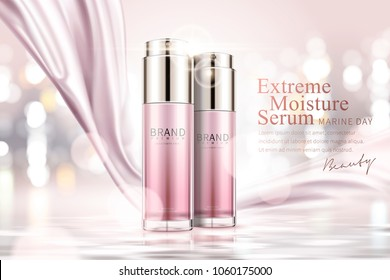 Moisture serum ads, cosmetic spray bottle with silver pink satin on glowing pink background in 3d illustration