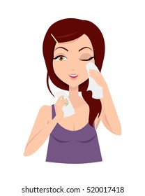 Moisturisation. Girl applying wet wipes which allows skin to breathe and gives fresh. Woman instruction how to make up correctly. Girl cares about her look. Part of series of ladies face care. Vector