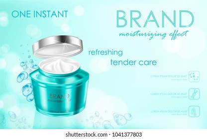 Moisturizing cosmetic products ad, light blue bokeh background with beautiful package containers, watery texture and sparkles elements.. Vector realistic illustration 3d.