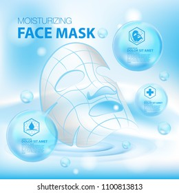 Moisturizing Face Mask cosmetic products ad, light blue bokeh background with beautiful containers vector illustration