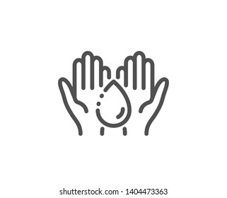 Moisturizing oil line icon. Skin care sign. Wash hands symbol. Quality design element. Linear style wash hands icon. Editable stroke. Vector
