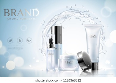 Moisturizing skincare ads with containers and swirling aqua effect on glittering blue background, 3d illustration