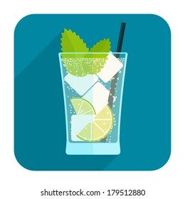 Mojito cocktail icon. Rounded square web button on white background. Simple minimalistic flat long shadow style. Vector illustration. Internet design graphic element
