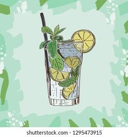 Mojito cocktail illustration. Alcoholic bar drink hand drawn vector. Pop art