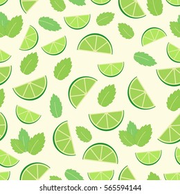 Mojito cocktail - seamless pattern of lime and mint leaves. Vector illustration