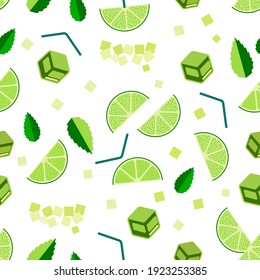 Mojito cocktail seamless pattern. Top view lemonade wallpaper. Illustration with mint, ice cube and lime. Fresh summer time print or t-shirt, prints, banner, party invitation or packaging design.