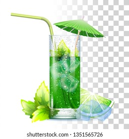 Mojito Cocktail Served In The Slightly Glass With Green Straw, Mint Leaves, Umbrella And Ice Cubes. Front View. 3d Photo Realistic Vector Illustration Isolated On Transparent Background