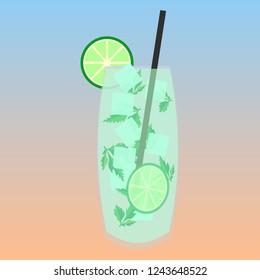 Mojito cocktail vector icon