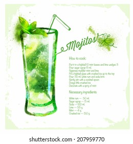 Mojito cocktails drawn watercolor.Recipes and ingredients on the background. Cocktails for your menu, parties, holidays.Vector series the author's work.