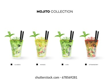 Mojito Collection. Vector Menu Template With Realistic Cocktails.