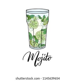 Mojito. Contemporary Classic cocktail. Hand sketched glass of fresh Mojito with lime, mint, ice and lettering typography.  Vector on white background made for menu design, bar, restaurant, print.