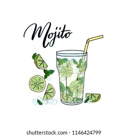 Mojito. Contemporary Classic cocktail. Hand sketched glass of fresh Mojito with straw, lime, mint, ice and lettering typography. Vector on white background made for menu design, bar, restaurant, print