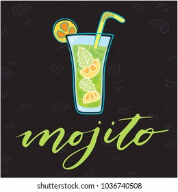 Mojito Glass Of Cocktail Background Vector Image