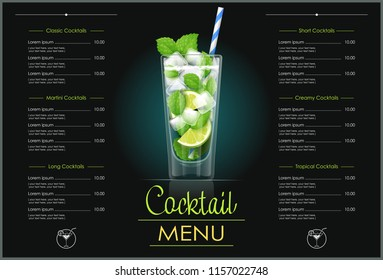Mojito glass. Cocktail menu concept design for alcohol bar. Alcoholic classic drink with lime. EPS10 vector illustration.