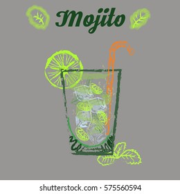 Mojito glass isolated. Vector illustration of alcoholic cocktail. Hand drawn sketch of mojito with slice of lime and straw. Bar menu design. Cocktail party icon. Template for card and poster