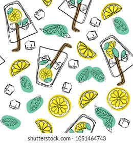 Mojito hand draw seamless pattern. Glass of mojito, ice cubes, mint leaves, lime slice and whole lime. Alcohol cocktail. Vector illustration in cartoon style. Cold mojito cocktail print