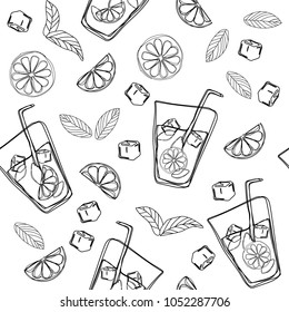 Mojito hand draw seamless pattern. Glass of mojito with ice cubes, mint leaves and lime outline. Black outline of the cocktail on a white background. Vector illustration.