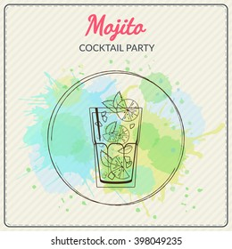 Mojito. Hand drawn vector illustration of cocktail. Colorful watercolor background