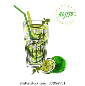 Mojito, lime and mint. Mojito to go. Sketch illustration. Isolated vector.