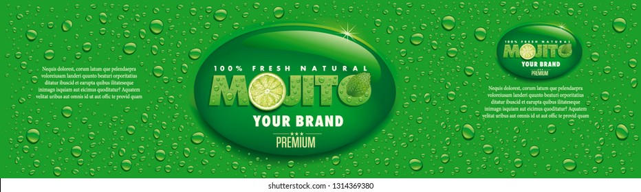 mojito name with lime slice, mint leaf and many water drops, packaging label