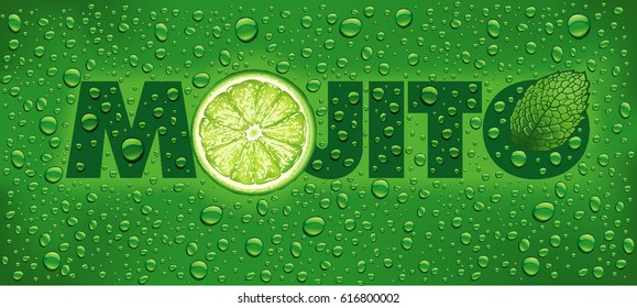 mojito name with lime slice, mint leaf and many water drops