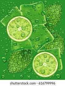 mojito pattern with lime slice, mint leaf and many water drops
