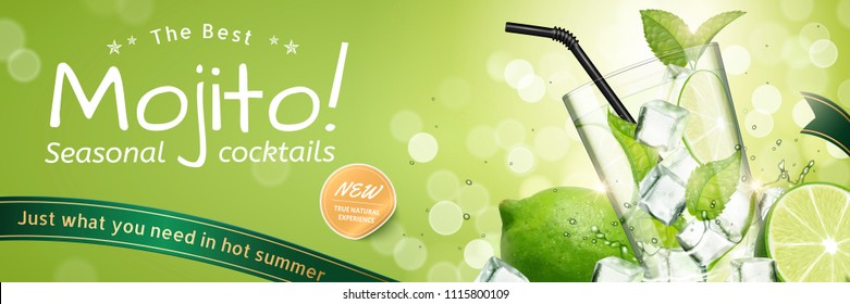 Mojito seasonal cocktails ads with refreshing fruit and ice cubes on green glitter bokeh background, 3d illustration