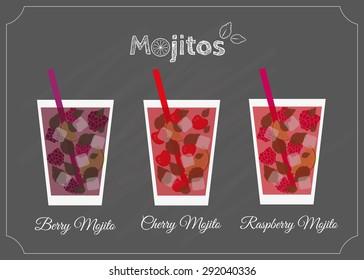 Mojitos set. Summer variations of mojito. Berry, cherry, raspberry mojitos. Element of menu on the blackboard.