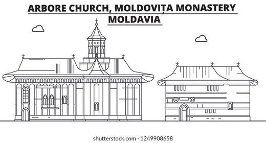 Moldavia - Arbore Church, Moldovita Monastery travel famous landmark skyline, panorama, vector. Moldavia - Arbore Church, Moldovita Monastery linear illustration