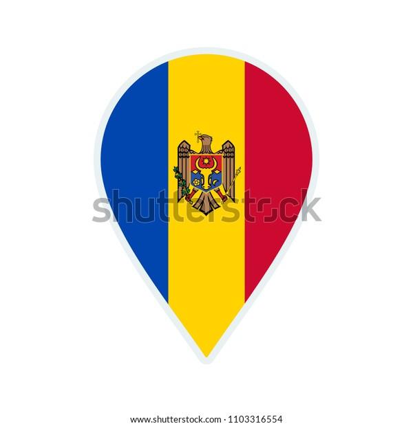 Moldova flag icon. Travel icon. Travel destination of Moldova. Moldova badge. Flag badge.